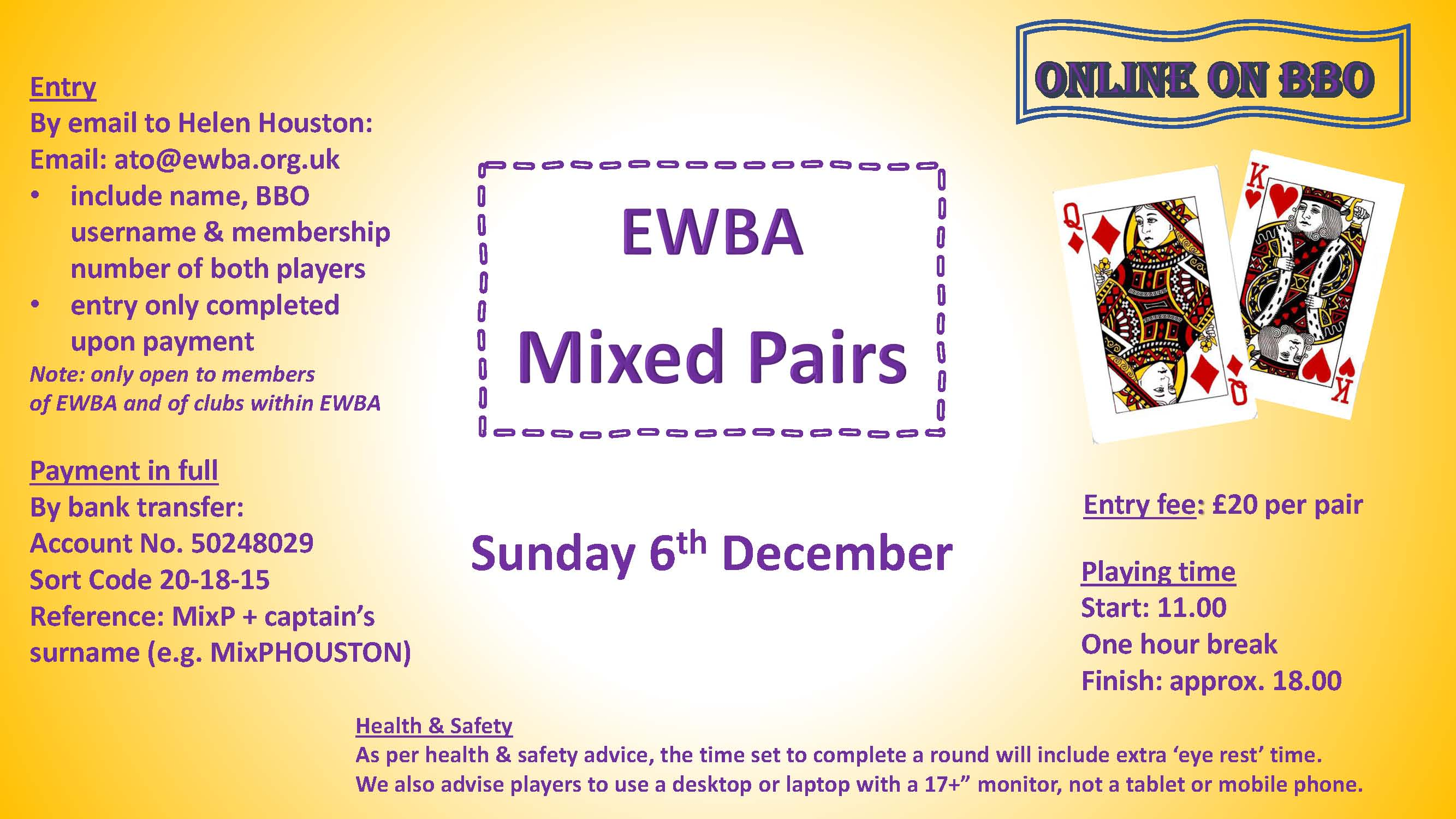 EWBA Mixed Pairs (Closed) @ BBO